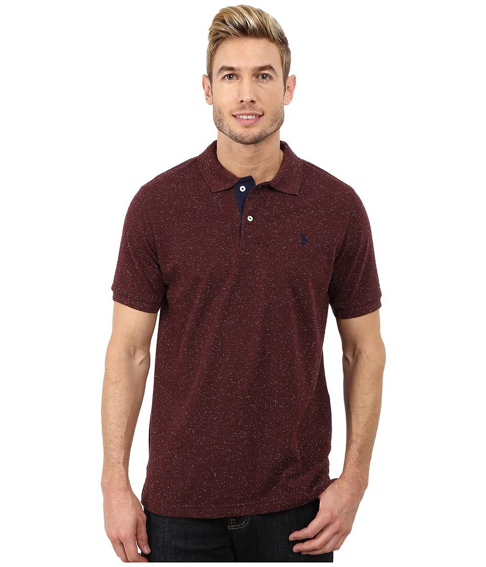 U.S. POLO ASSN. - Fleck Pique Polo (Burgundy Fleck) Men's Short Sleeve Pullover