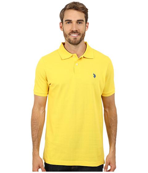 U.S. POLO ASSN. - Solid Cotton Pique Polo (Preppy Yellow) Men's Short Sleeve Pullover