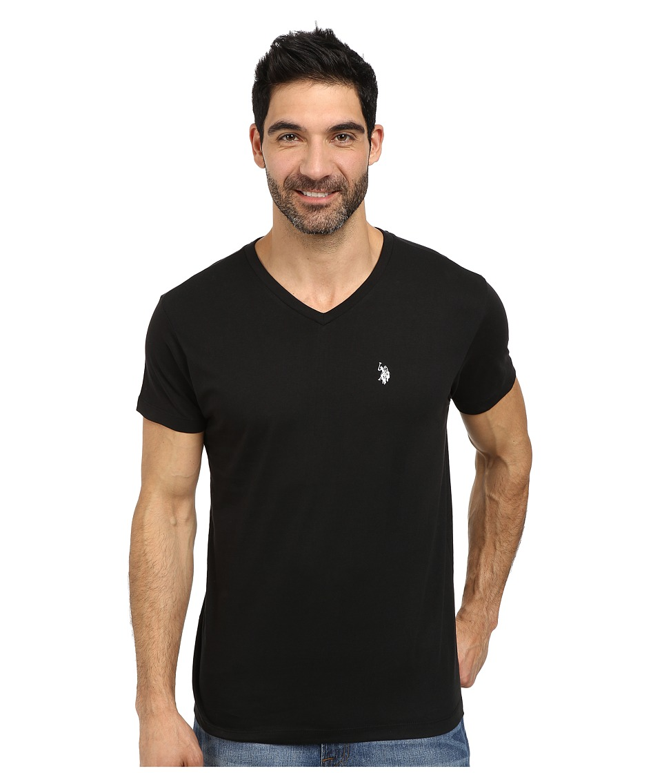 U.S. POLO ASSN. - V-Neck Short Sleeve T-Shirt (Black) Men's Short Sleeve Pullover