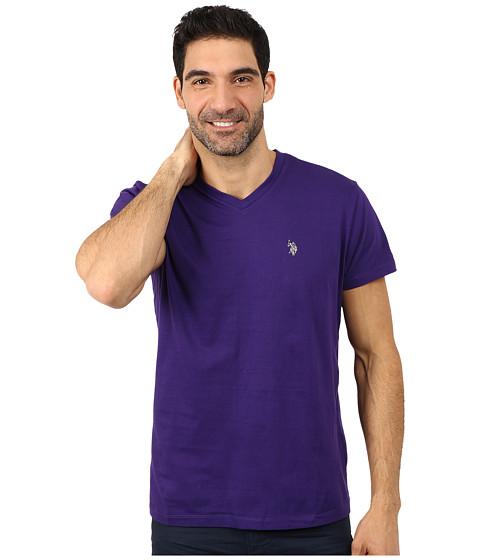 U.S. POLO ASSN. - V-Neck Short Sleeve T-Shirt (Dark Violet) Men