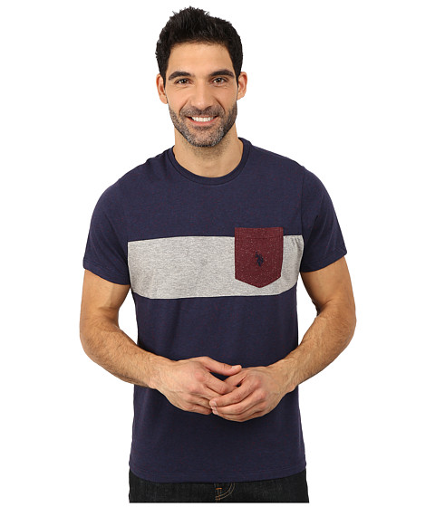 U.S. POLO ASSN. - Chest Stripe Pocket T-Shirt (Classic Navy Fleck) Men's T Shirt