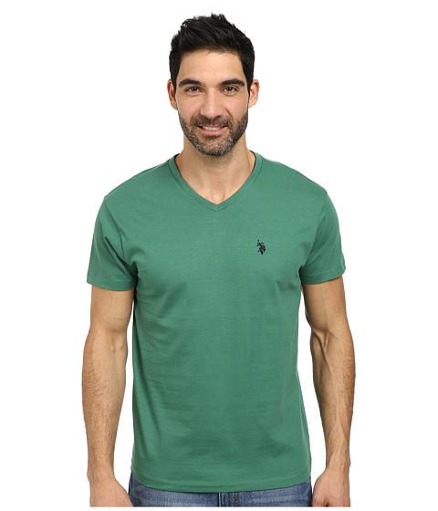 U.S. POLO ASSN. - V-Neck Short Sleeve T-Shirt (Field Green) Men's Short Sleeve Pullover