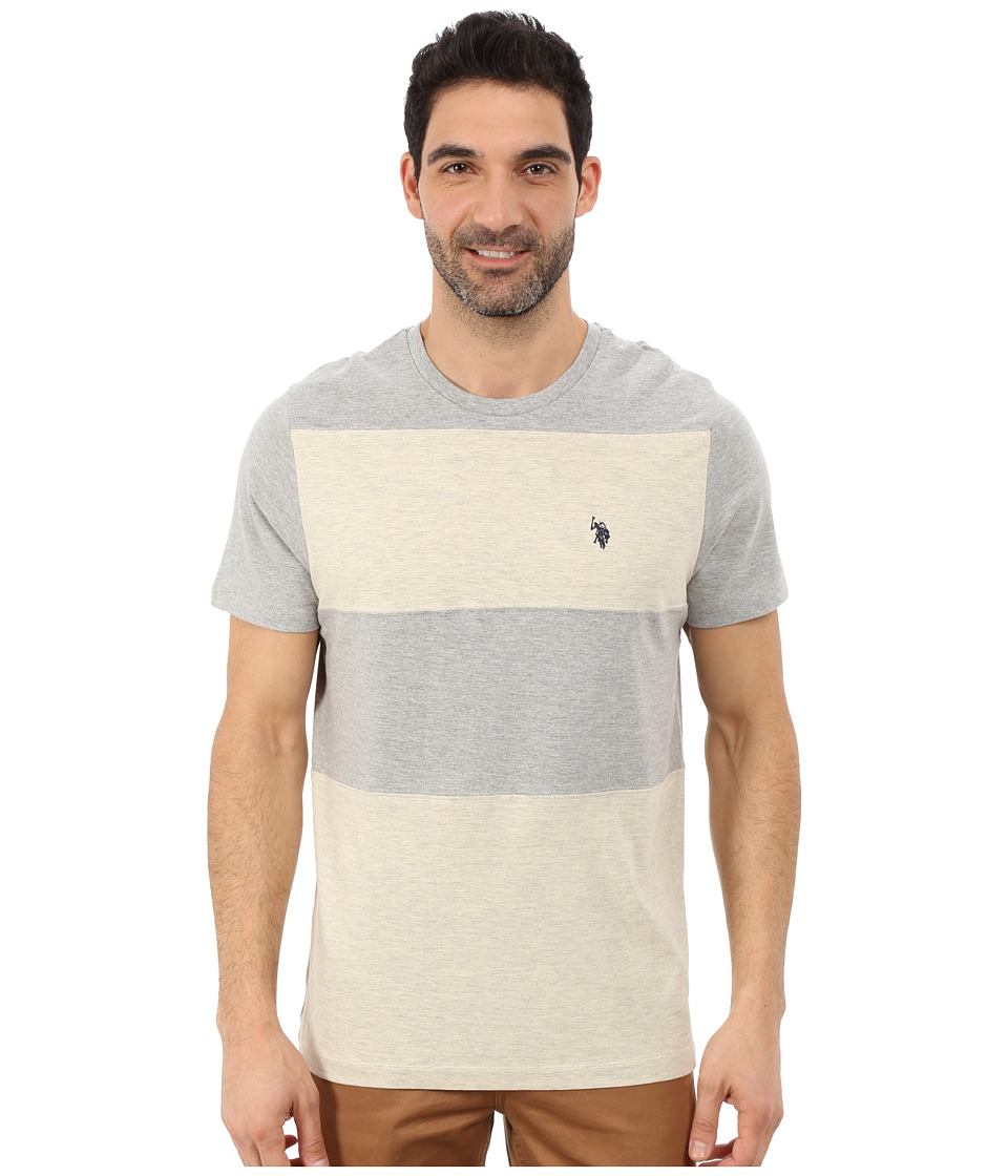 U.S. POLO ASSN. - Cut and Sewn Wide Stripe T-Shirt (Oatmeal Heather) Men's T Shirt