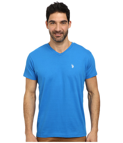 U.S. POLO ASSN. - V-Neck Short Sleeve T-Shirt (Blue Tile) Men's Short Sleeve Pullover