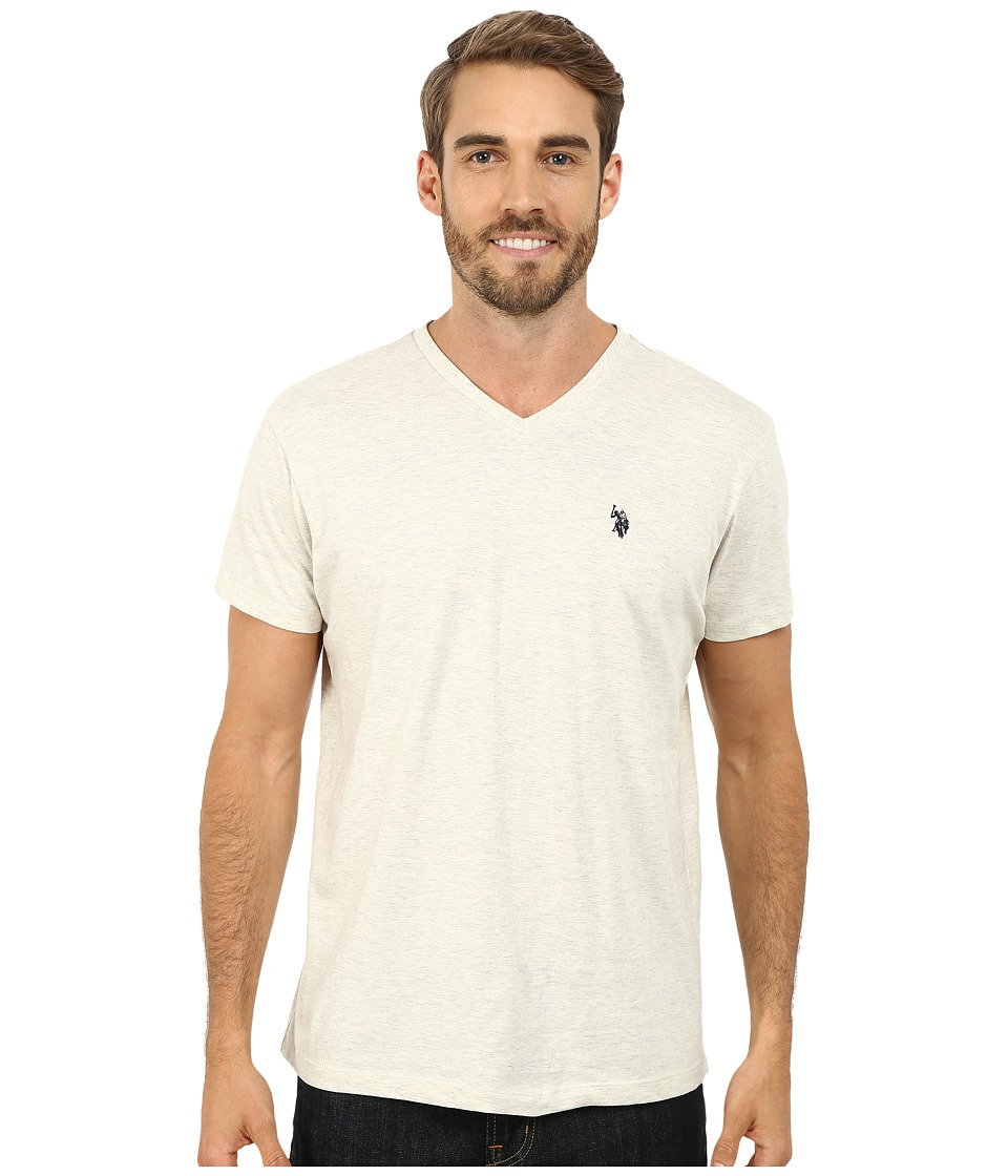 U.S. POLO ASSN. - V-Neck Short Sleeve T-Shirt (Oatmeal Heather) Men's Short Sleeve Pullover
