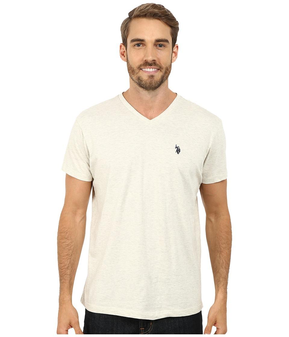 U.S. POLO ASSN. - V-Neck Short Sleeve T-Shirt (Oatmeal Heather) Men's Short Sleeve Pullover