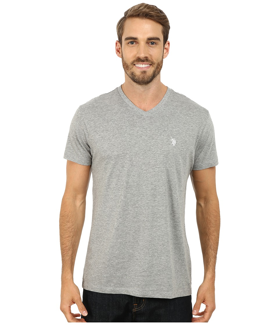 U.S. POLO ASSN. - V-Neck Short Sleeve T-Shirt (Heather Gray) Men's Short Sleeve Pullover
