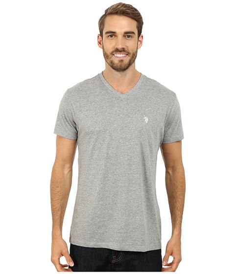 U.S. POLO ASSN. - V-Neck Short Sleeve T-Shirt (Heather Gray) Men's Short Sleeve Pullover