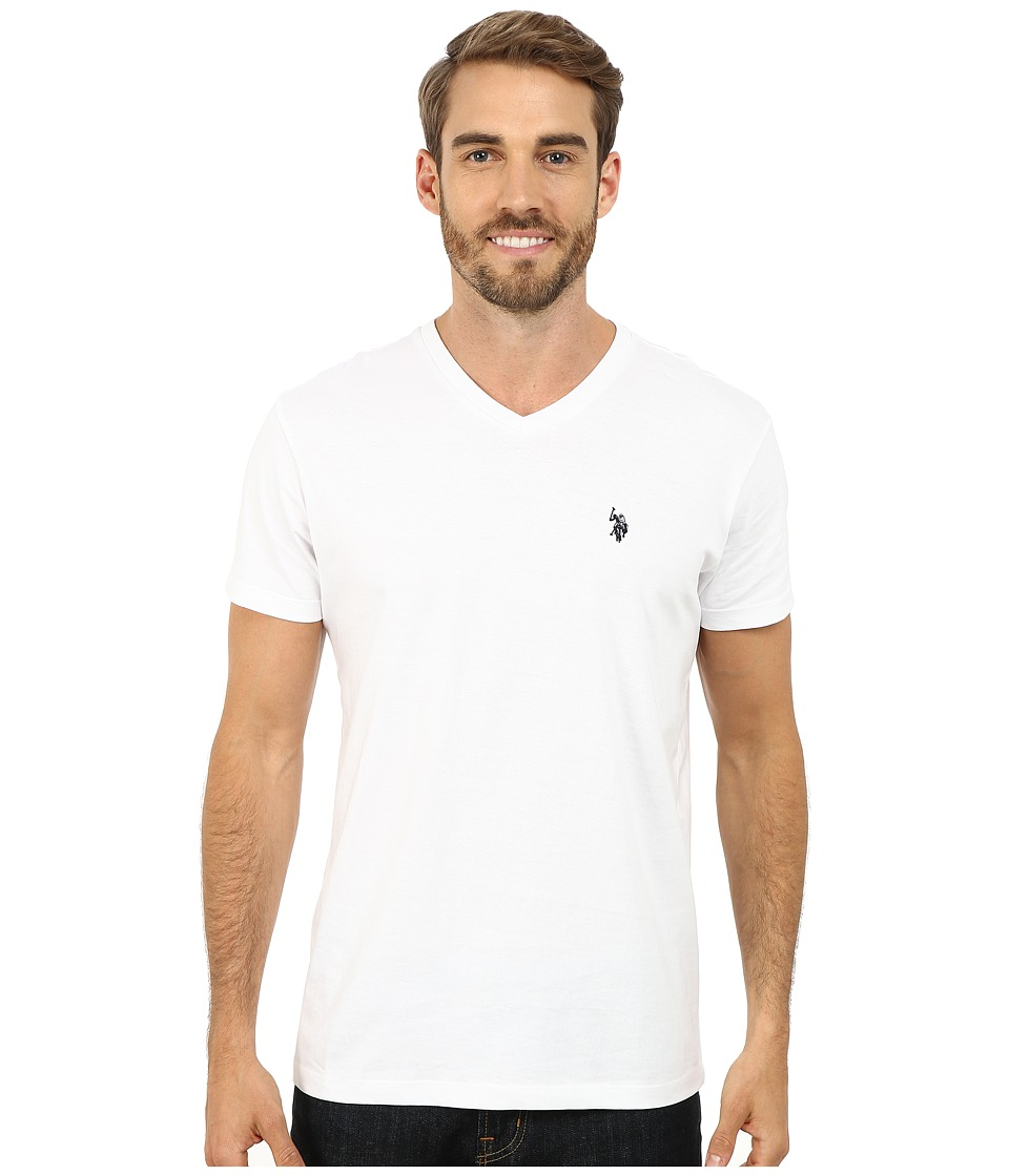 U.S. POLO ASSN. - V-Neck Short Sleeve T-Shirt (White) Men's Short Sleeve Pullover