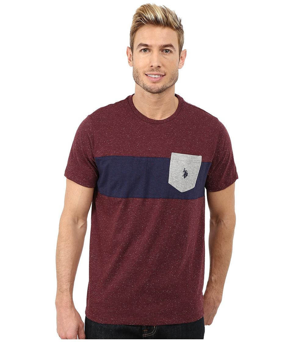 U.S. POLO ASSN. - Chest Stripe Pocket T-Shirt (Burgundy Fleck) Men