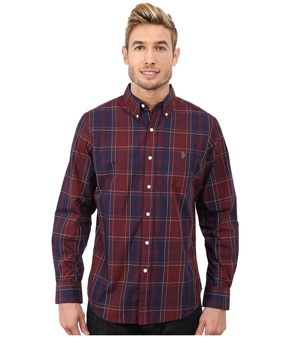 U.S. POLO ASSN. - Cotton Poplin Plaid Shirt (Burgundy) Men's Long Sleeve Button Up