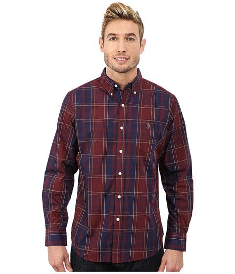U.S. POLO ASSN. - Cotton Poplin Plaid Shirt (Burgundy) Men
