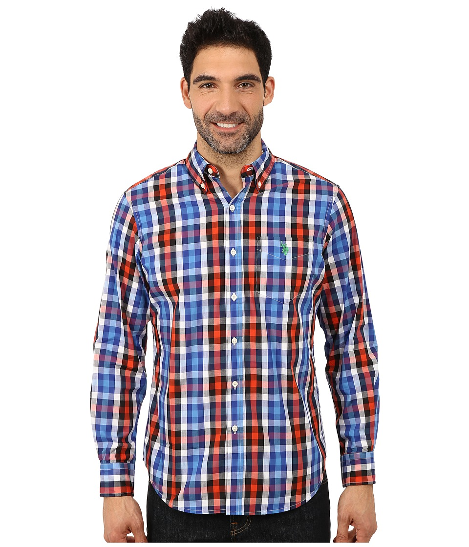 U.S. POLO ASSN. - Poplin Plaid Shirt (International Blue) Men's Clothing