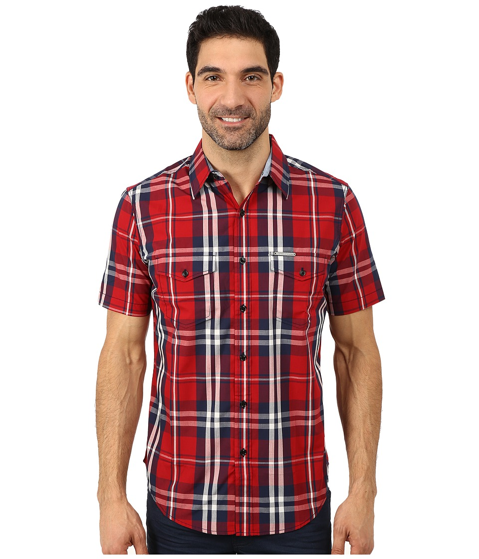 U.S. POLO ASSN. - Slim Fit Short Sleeve Plaid Sport Shirt (Apple Cinnamon) Men's Clothing
