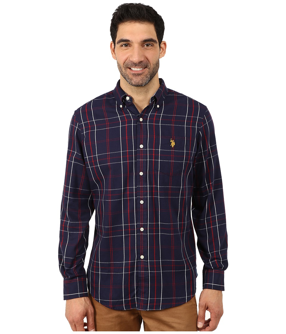 U.S. POLO ASSN. - Plaid Sport Shirt (Classic Navy) Men