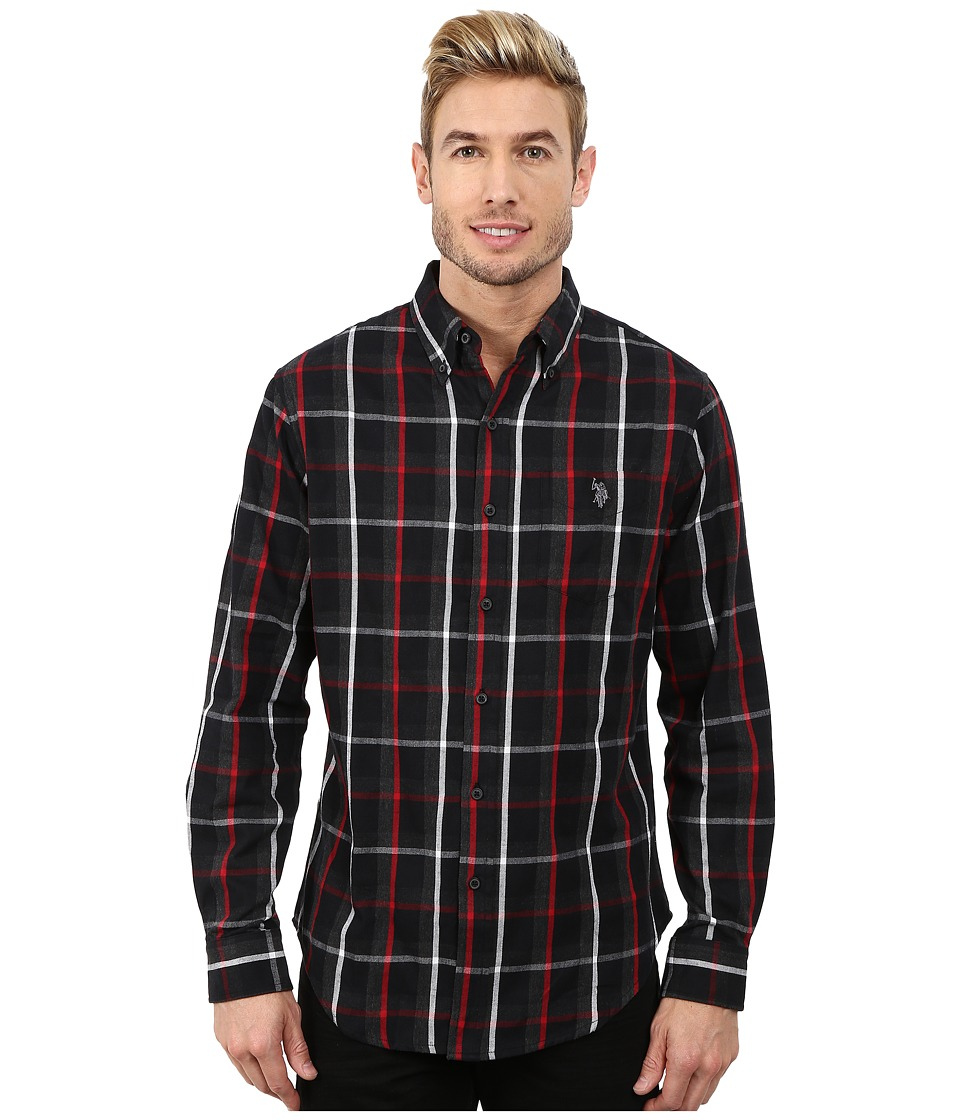 U.S. POLO ASSN. - Button Down Plaid Twill Shirt (Black) Men's Long Sleeve Button Up