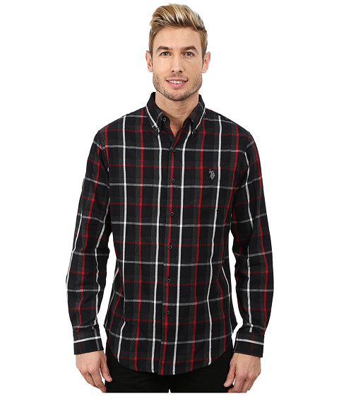 U.S. POLO ASSN. - Button Down Plaid Twill Shirt (Black) Men