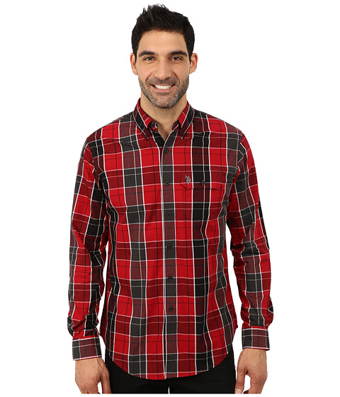 U.S. POLO ASSN. - Poplin Long Sleeve Plaid Shirt (Winning Red) Men