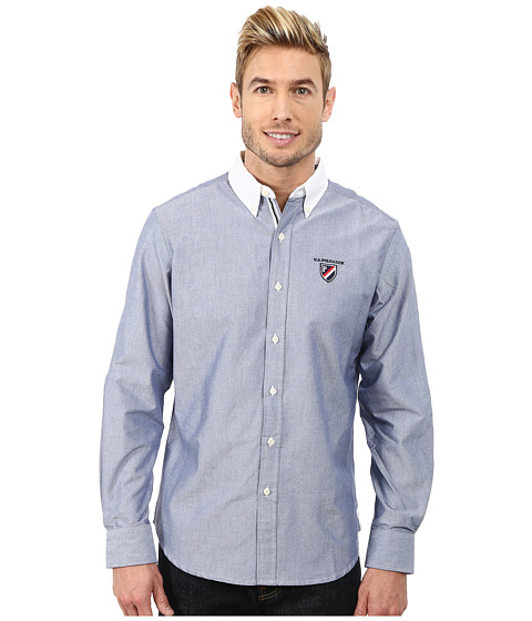 U.S. POLO ASSN. - Long Sleeve Oxford Shirt (Marina Blue) Men's Long Sleeve Button Up