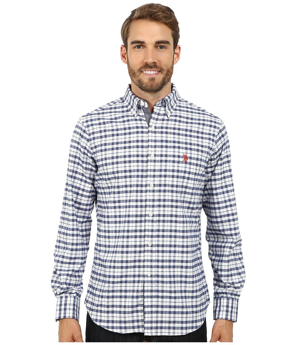 U.S. POLO ASSN. - Plaid Oxford Woven Shirt (White Winter) Men's Clothing