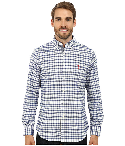 U.S. POLO ASSN. - Plaid Oxford Woven Shirt (White Winter) Men's Clothing
