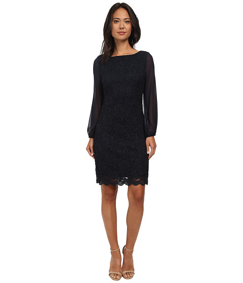 Jessica Howard - Long Sleeve Shift Dress w/ Sheer Sleeves (Navy) Women's Dress