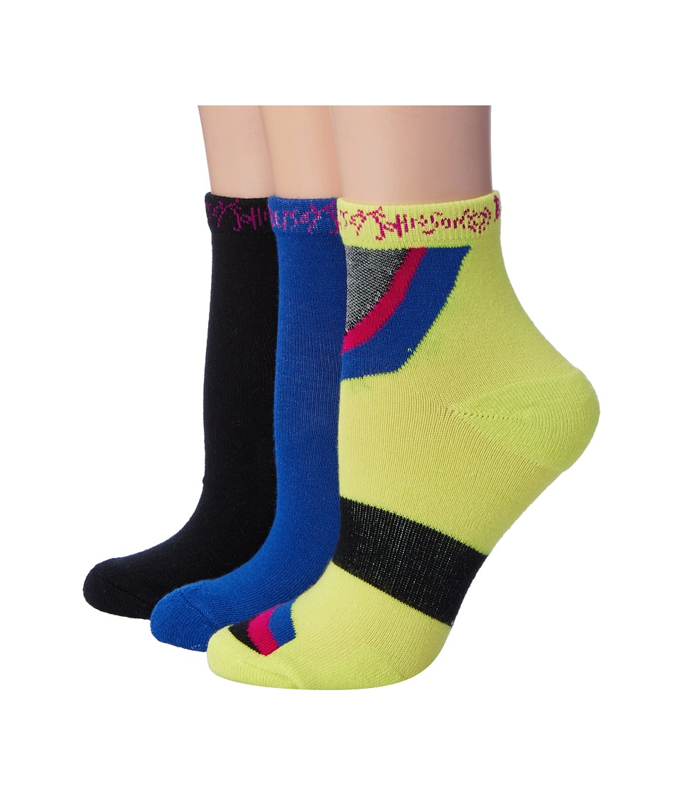 Betsey Johnson - 3-Pack Groovy Quarter Crew Socks (Neon Green) Women