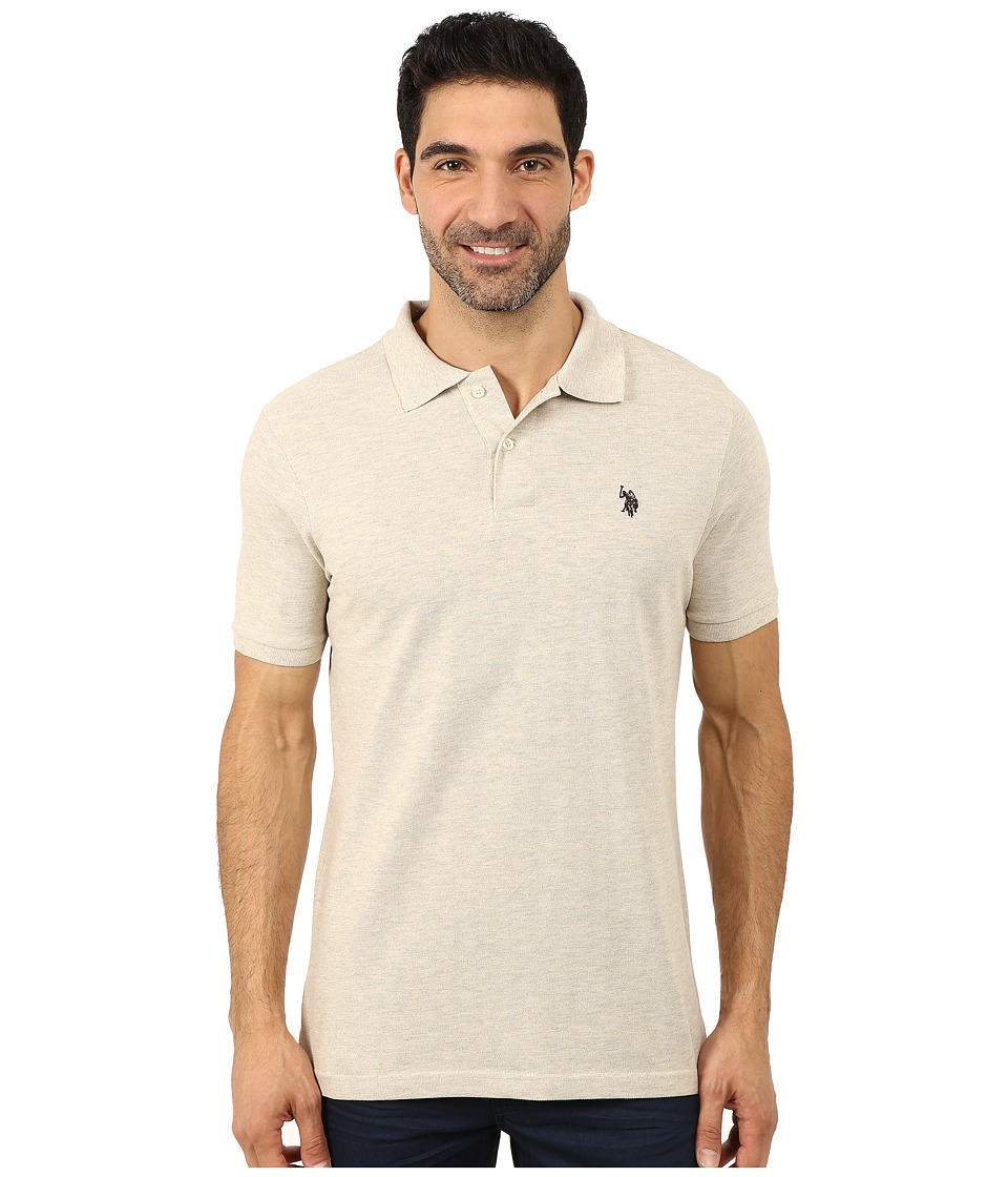 U.S. POLO ASSN. - Solid Cotton Pique Polo (Oatmeal Heather/Bootstrap) Men's Short Sleeve Pullover