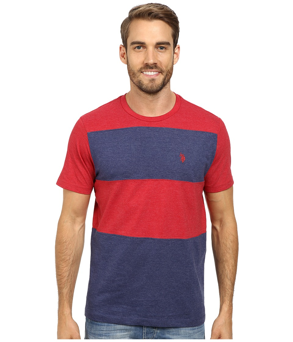 U.S. POLO ASSN. - Cut and Sewn Wide Stripe T-Shirt (Red Heather) Men's T Shirt