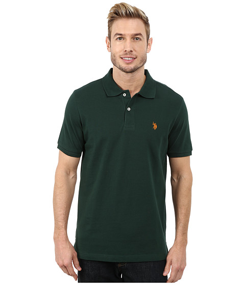 U.S. POLO ASSN. - Solid Cotton Pique Polo (Park Green/Pumpkin Pie) Men's Short Sleeve Pullover