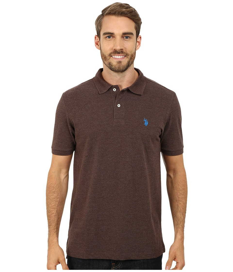 U.S. POLO ASSN. - Solid Cotton Pique Polo with Small Pony (Brown Heather/Blue) Men's Short Sleeve Knit