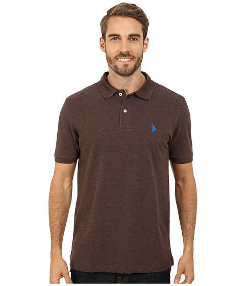 U.S. POLO ASSN. - Solid Cotton Pique Polo (Brown Heather/Blue) Men's Short Sleeve Pullover