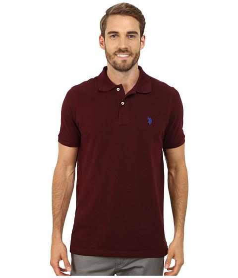 U.S. POLO ASSN. - Solid Cotton Pique Polo (New Burgundy/China Blue) Men's Short Sleeve Pullover