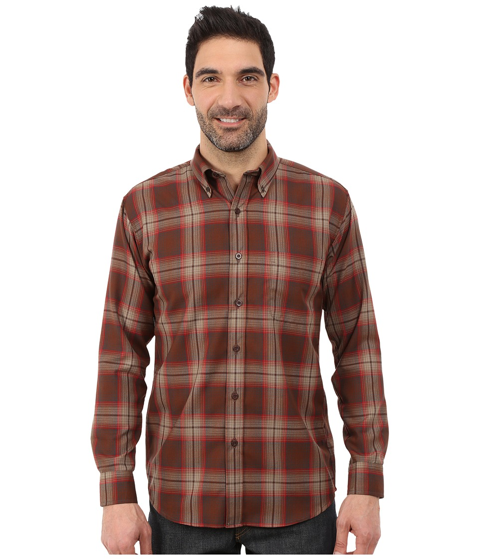 Pendleton - Long Sleeve Fitted Sir Pen Button Down Shirt (Brown/Red Plaid) Men's Long Sleeve Button Up