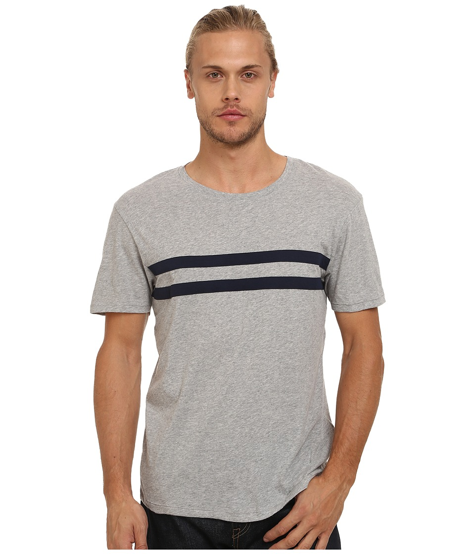 Gant Rugger - R. Double Cheststripe Tee (Light Grey Melange) Men's T Shirt