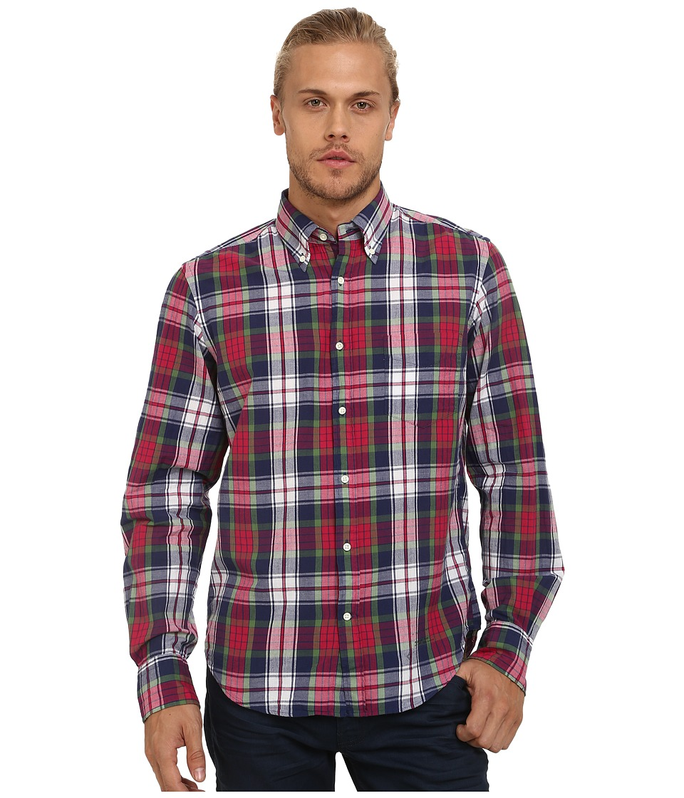 Gant Rugger - R. Fall Handloom Madras E-Z (FIT) Oxford Button Down (Dragon Blue) Men's Long Sleeve Button Up