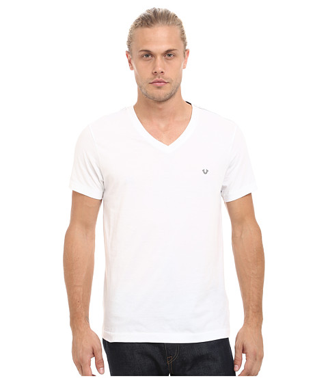 True Religion - V-Neck Tee (Optic White) Men's T Shirt