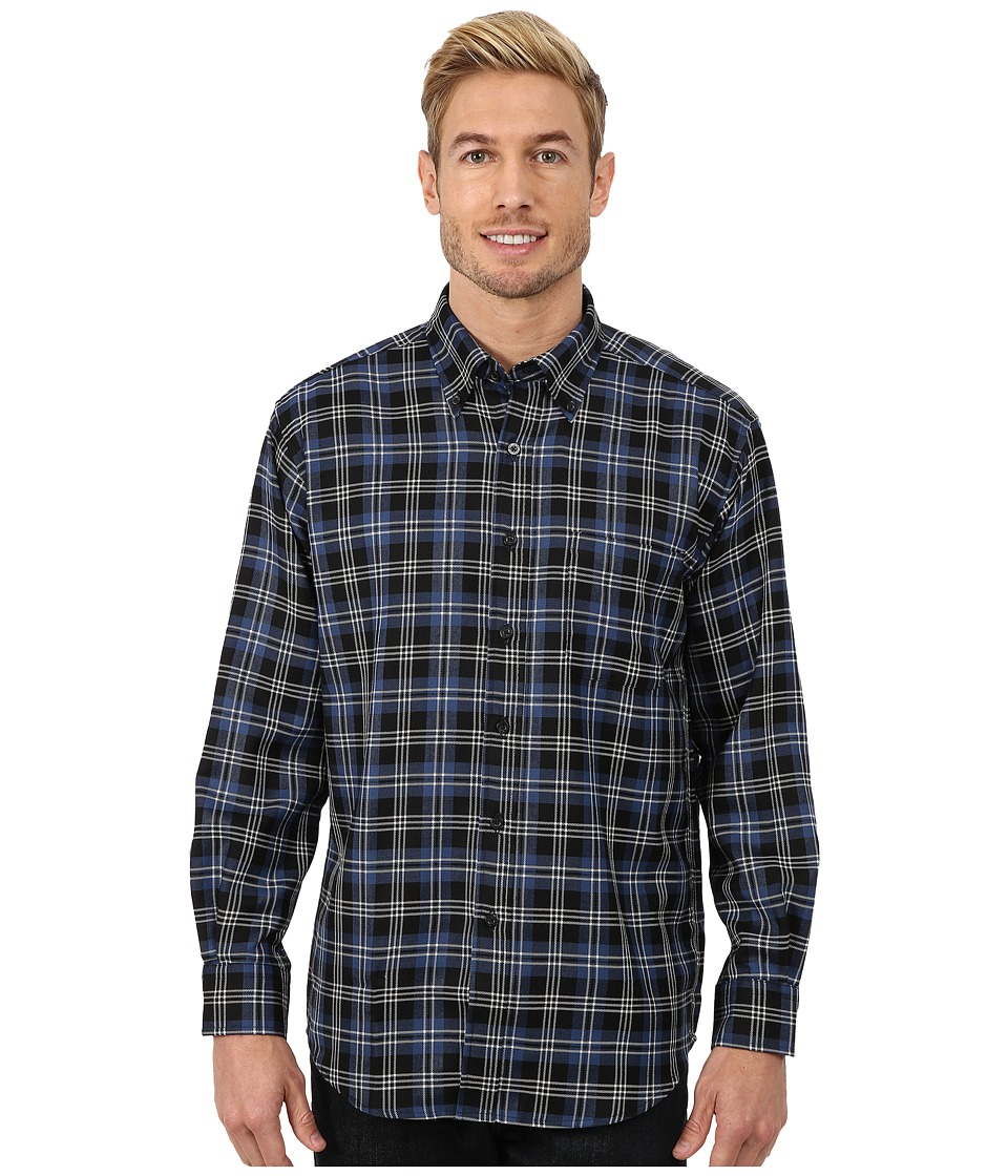 Pendleton - Long Sleeve Sir Pen Button Down Shirt (Black/Blue/White Plaid) Men's Long Sleeve Button Up