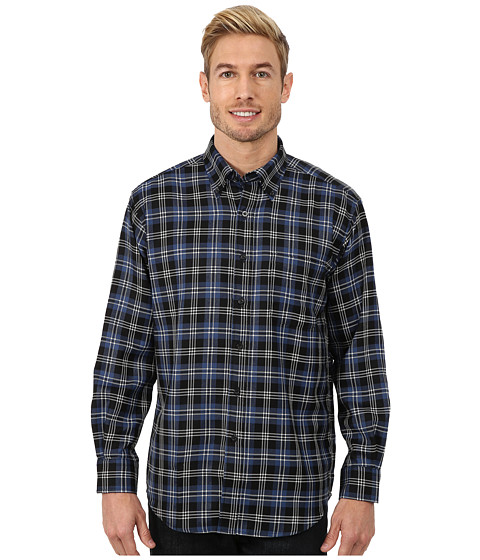 Pendleton - Long Sleeve Sir Pen Button Down Shirt (Black/Blue/White Plaid) Men