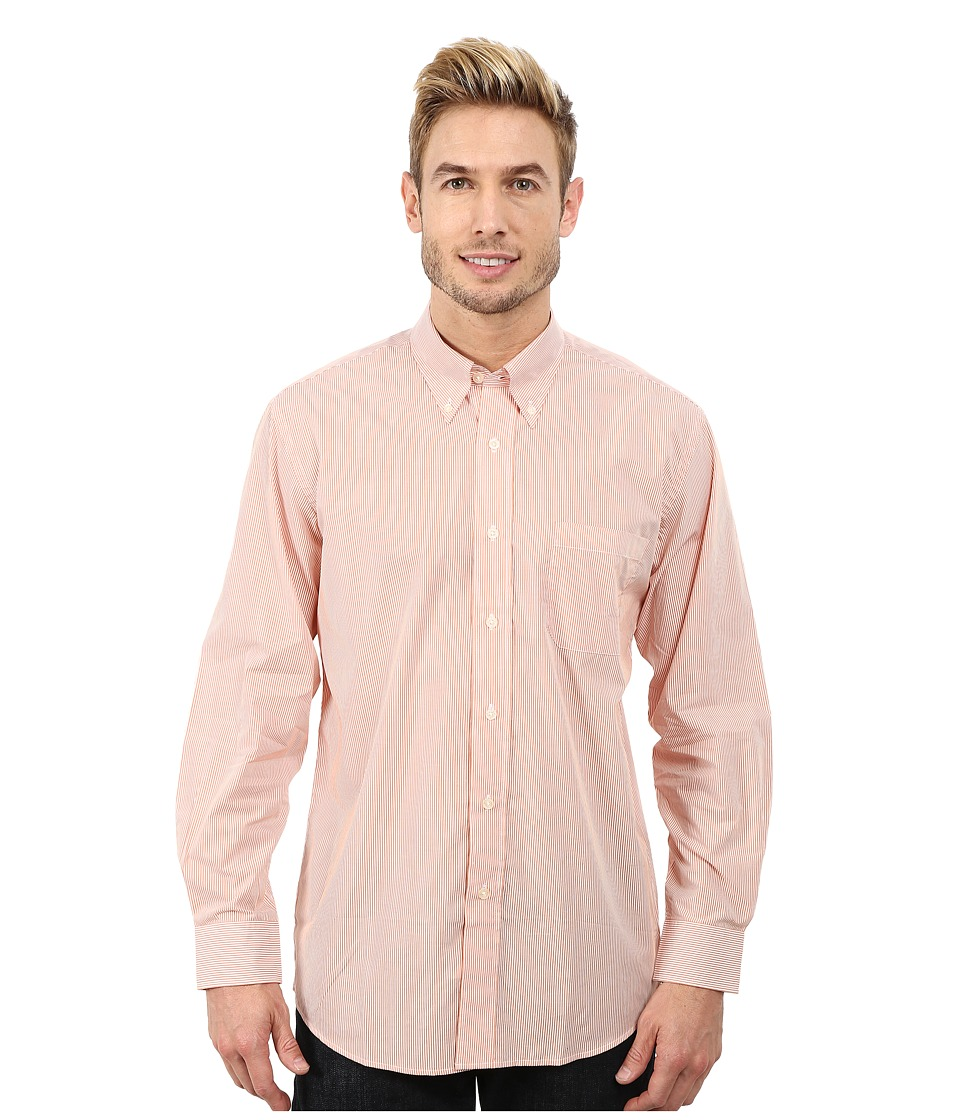 Pendleton - Long Sleeve Bridgeport Shirt (Orange Stripe) Men's Clothing