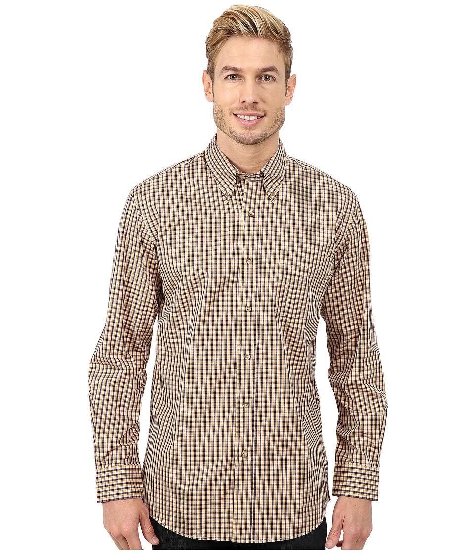 Pendleton - Long Sleeve Broadway Button Down Shirt (Tan/Navy Mini Check) Men