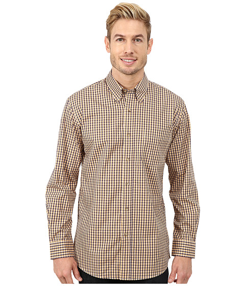 Pendleton - Long Sleeve Broadway Button Down Shirt (Tan/Navy Mini Check) Men