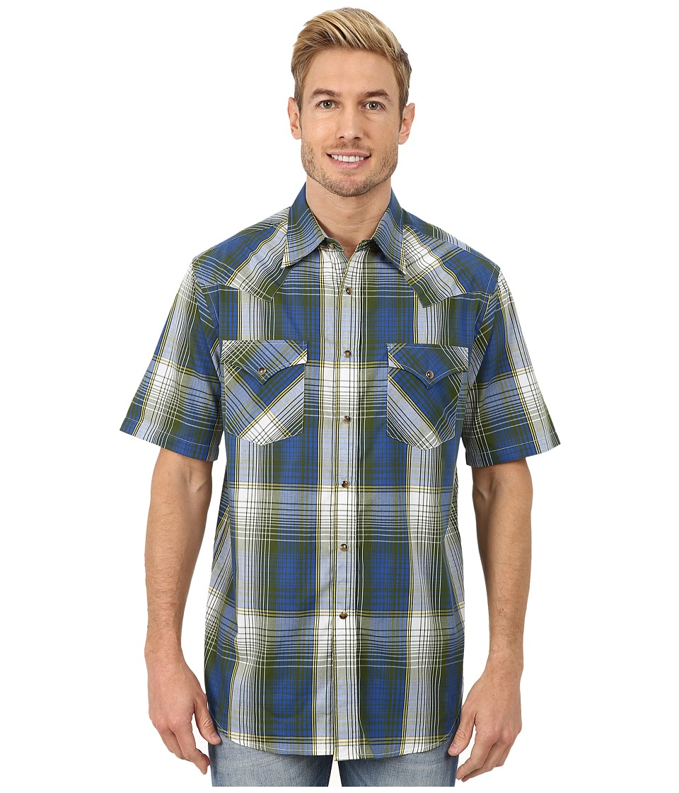 Pendleton - Short Sleeve Frontier Shirt (Blue/Green Exploded Ombre) Men