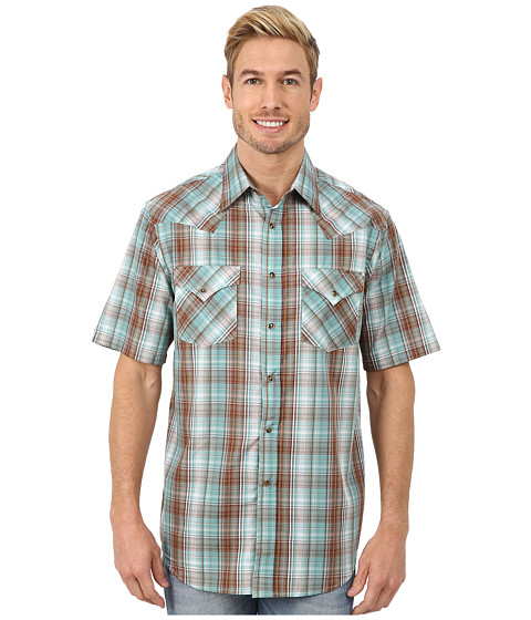 Pendleton - Short Sleeve Frontier Shirt (Turquoise/Brown Ombre) Men's Short Sleeve Pullover