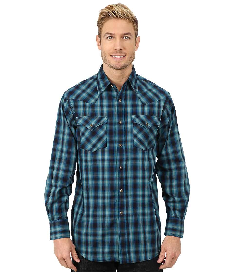 Pendleton - Long Sleeve Frontier Shirt (Blue/Black/Turquoise Check) Men's Long Sleeve Pullover