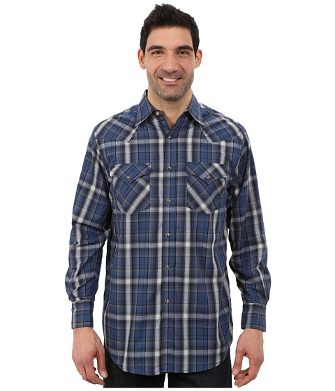 Pendleton - Long Sleeve Frontier Shirt (Blue/Grey Ombre) Men's Long Sleeve Pullover