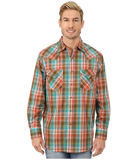 Pendleton - Long Sleeve Frontier Shirt (Copper/Turquoise/Brown Ombre) Men's Long Sleeve Pullover
