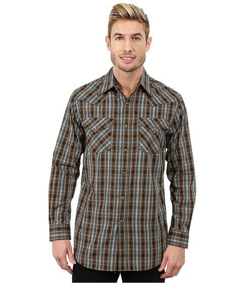 Pendleton - Long Sleeve Fitted Frontier Shirt (Black Multi Plaid) Men