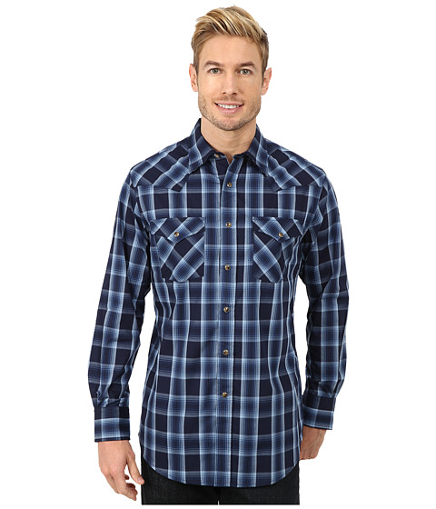 Pendleton - Long Sleeve Fitted Frontier Shirt (Blue/Navy Ombre) Men's Long Sleeve Pullover