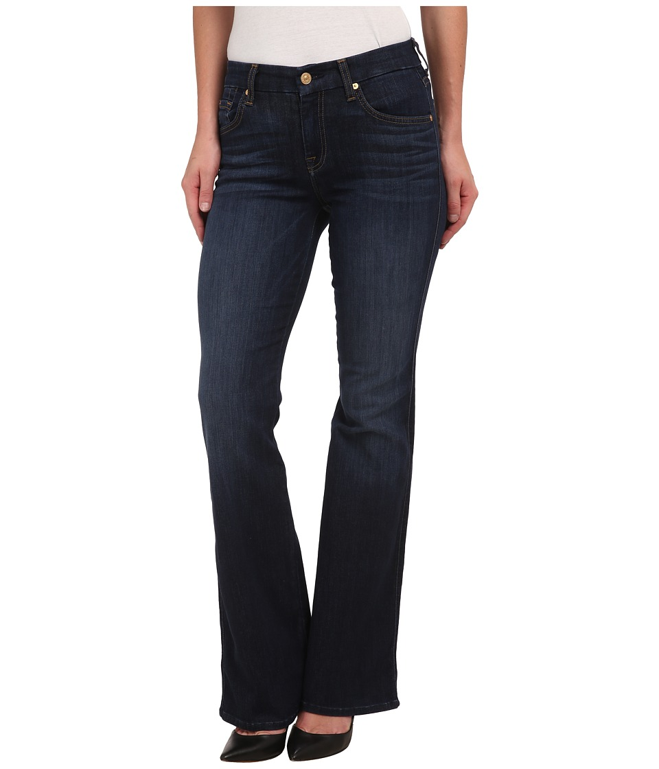 7 For All Mankind - Short Inseam A Pocket with Gold/Brown A in Slim Illusion Tried/True Blue (Slim Illusion Tried/True Blue) Women's Jeans